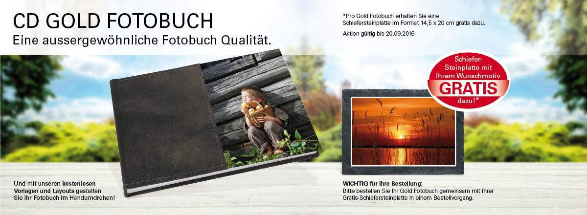Gold Fotobuch + Schiefersteinplatte Gratis