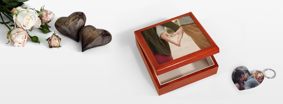 Geschenkkästchen mit Fotomotiv für den Valentinstag