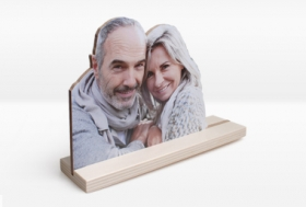 Holzfigur mit Fotodruck